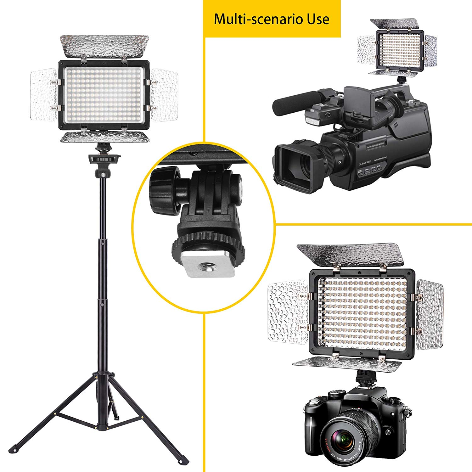 Emart LED Photo Video Light - Dimmable 176 LED Panel Lighting Kit with 4.3 ft Light Stand