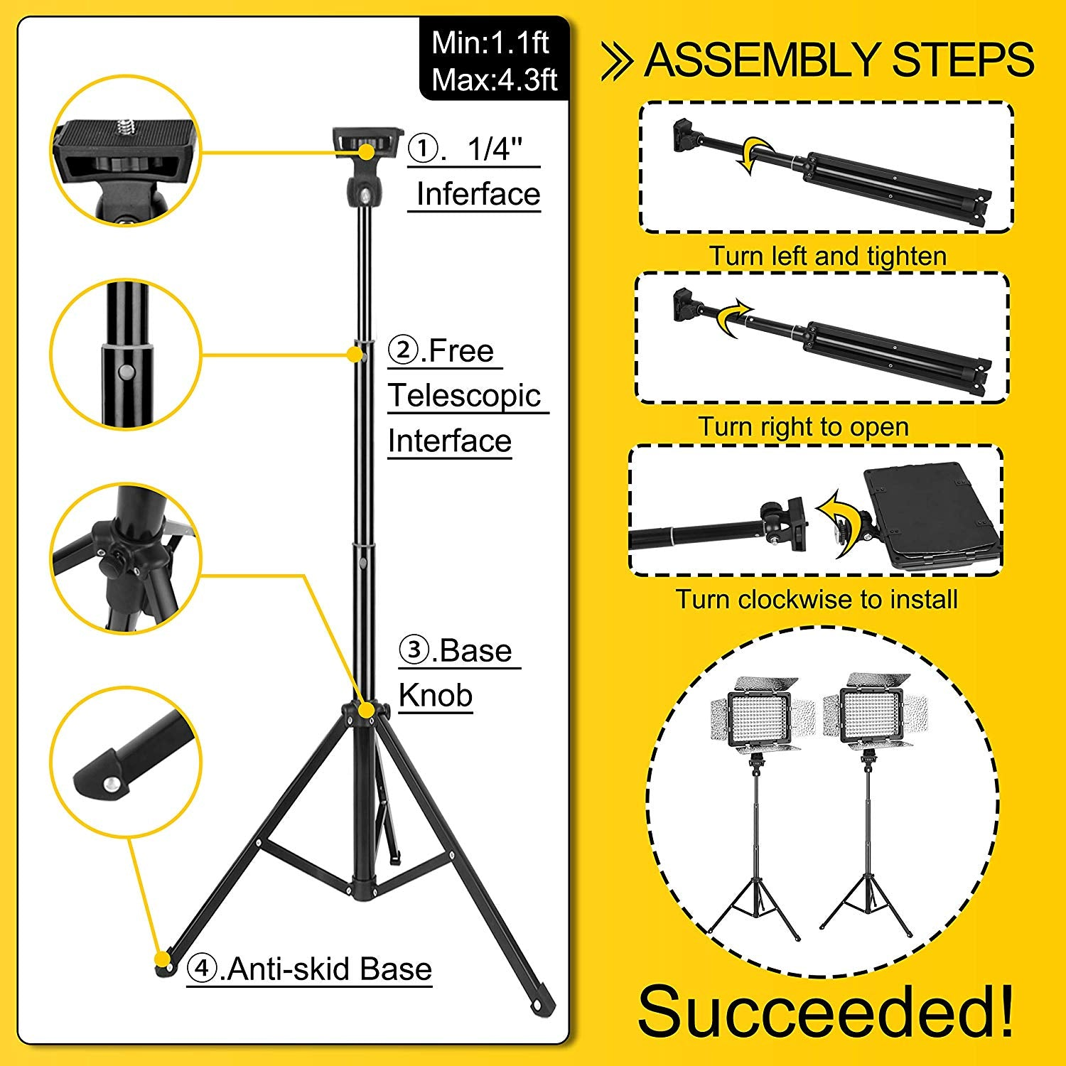 Dimmable 176 LED Panel Lighting Kit with 4.3 ft Light Stand