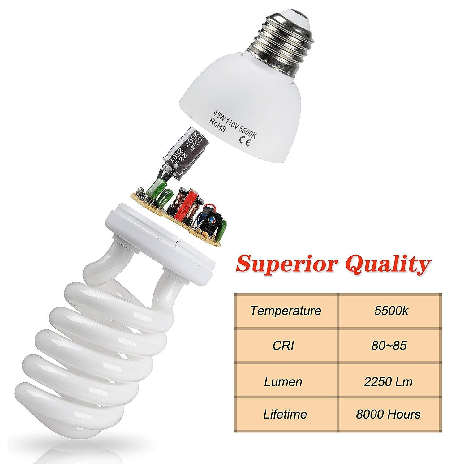 Emart Full Spectrum Light Bulb, 2 x 45W 5500K - EMART8