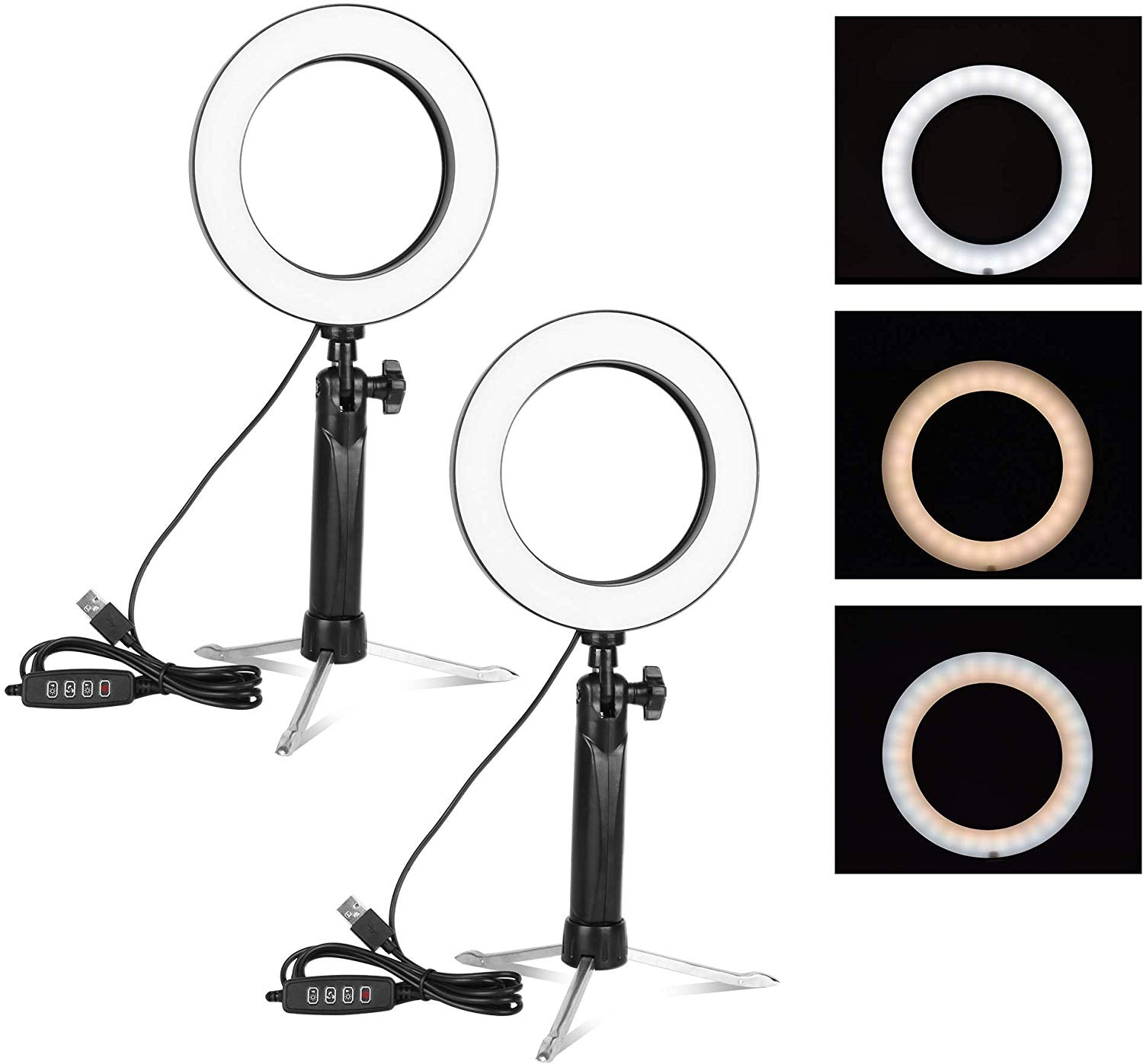 Emart 6'' LED Ring Light with Tripod Stand, 3 Light Modes & 11 Brightness Level