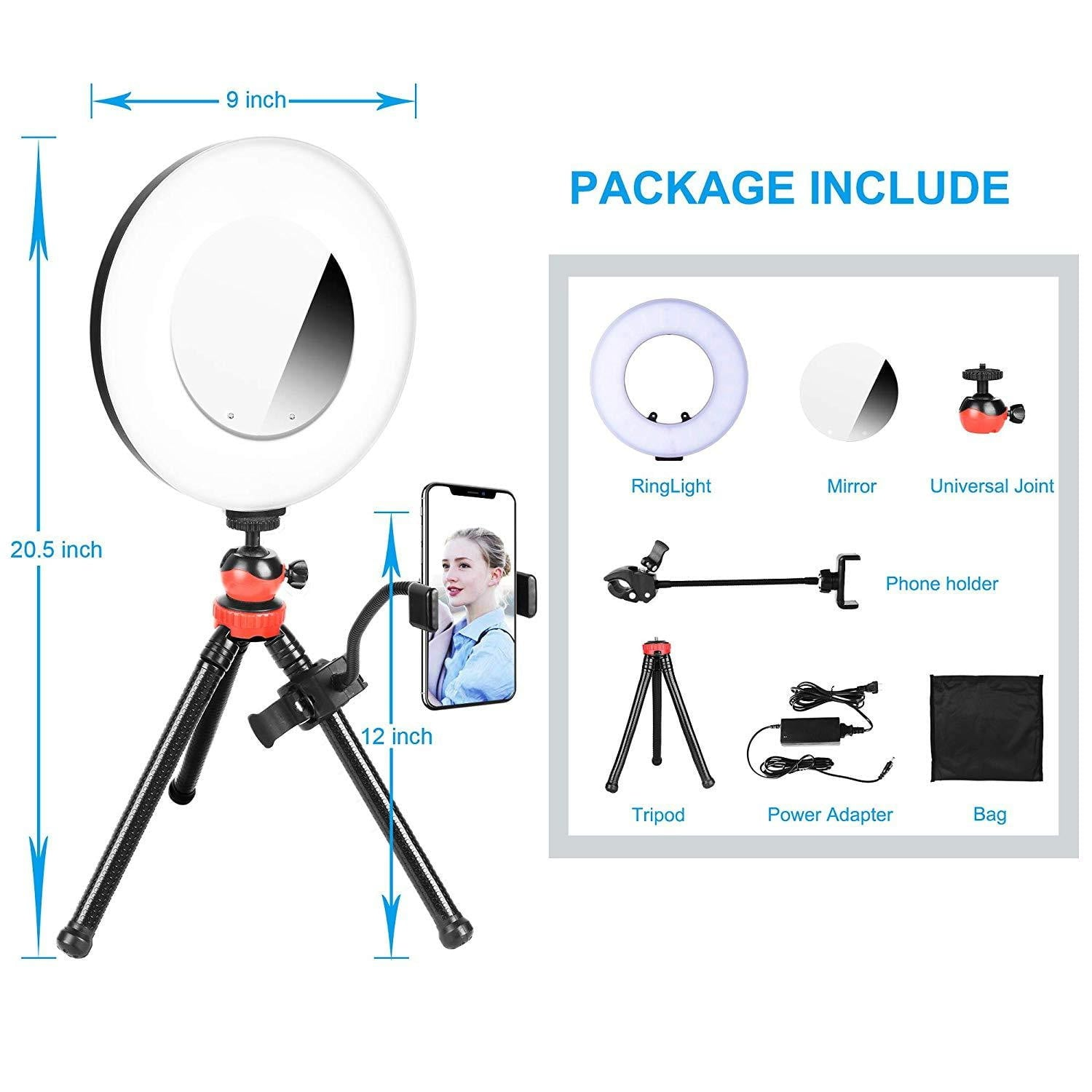 Emart 9 inch LED Ring Light with Tabletop Tripod - EMART8