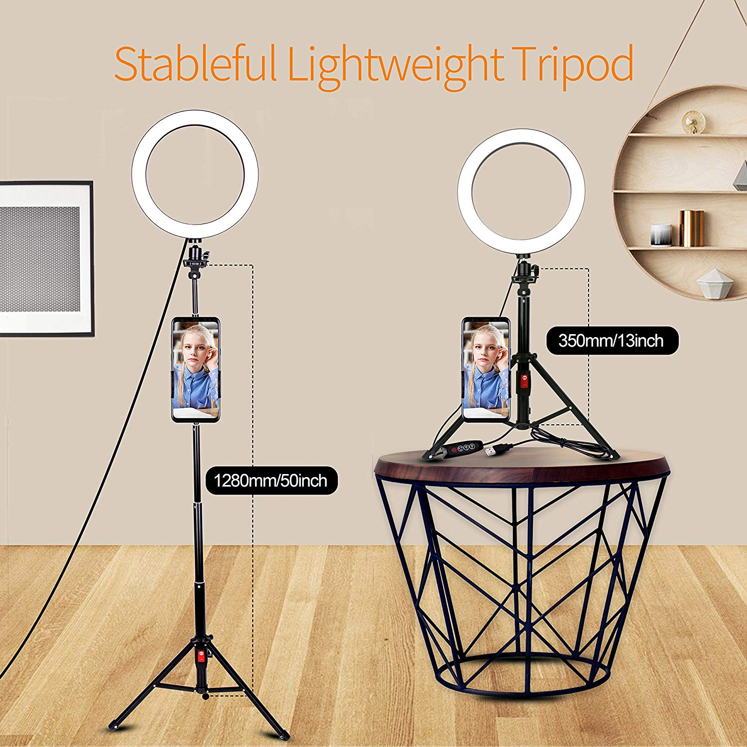 Emart 10-inch Selfie Ring Light with Adjustable Tripod Stand & Cell Phone Holder - EMART8