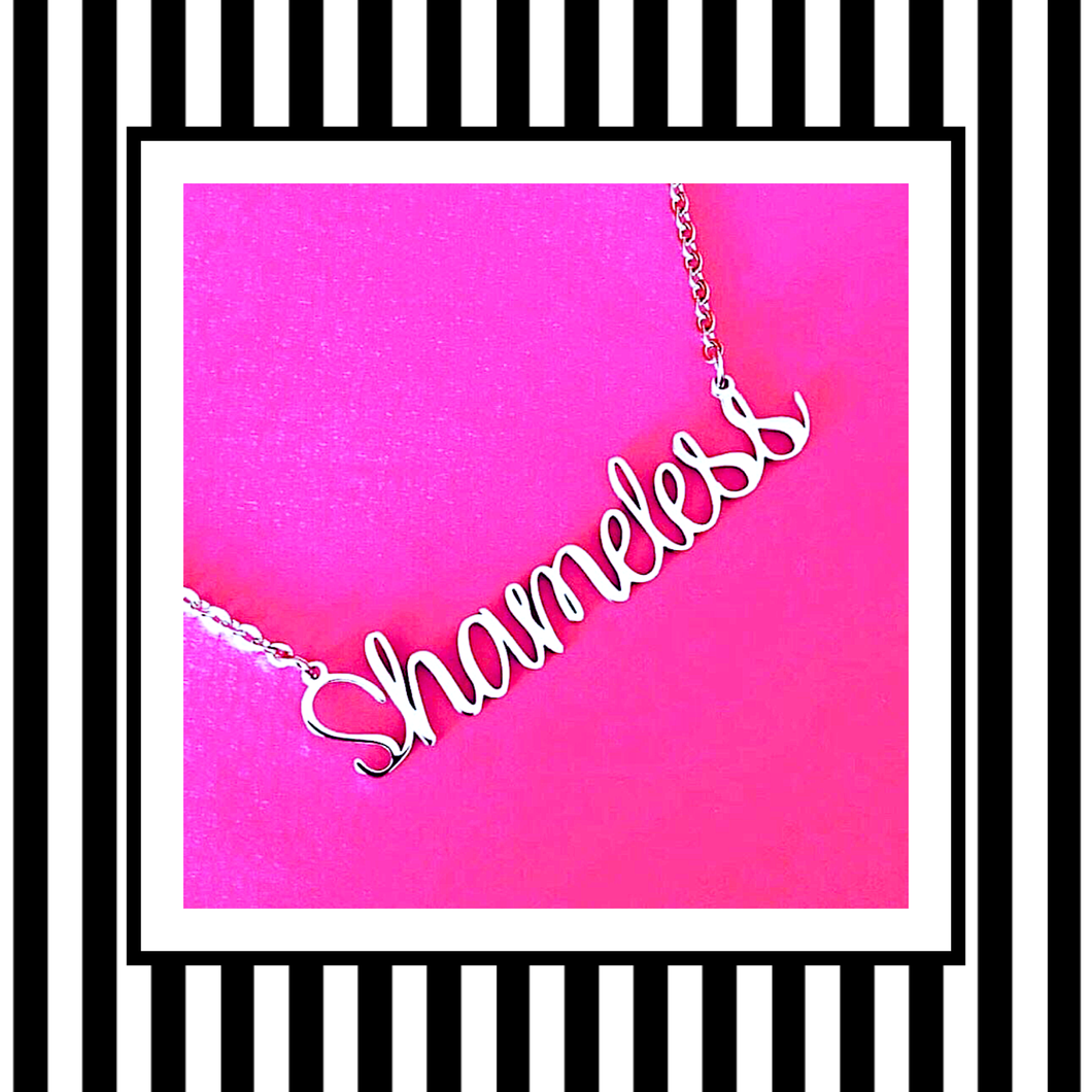 Shameless Silver Script Necklace
