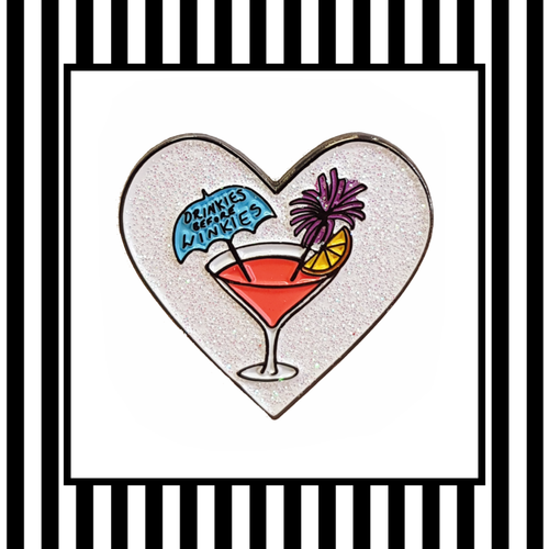 Drinkies Before Winkies Sparkly Enamel Pin Badge Framed