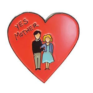 Bates Motel Yes Mother Enamel Pin on white background