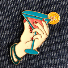 Happy Hour Cocktail Martini Enamel Pin Badge Denim