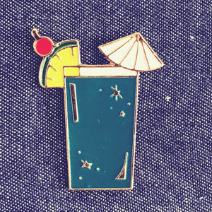 Blue Lagoon Cocktail Enamel Pin