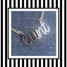 Cunt Offensive Script Necklace silver