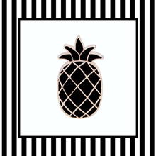 Gold and Black Pineapple Pin Framed