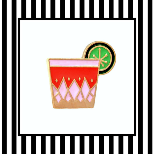 Geo Gin Cocktail Enamel Pin Badge Framed