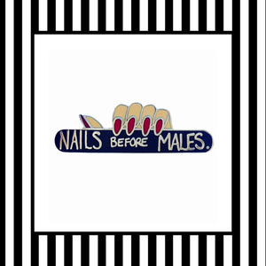 Nails before males enamel pin badge navy red