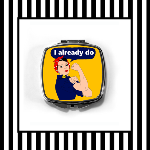 Rosie the Riveter Compact Mirror framed