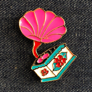 Vintage Gramopone Enamel Pin Badge on Denim