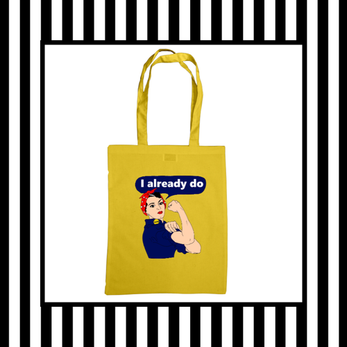 Rosie the Riveter Tote Bag Yellow