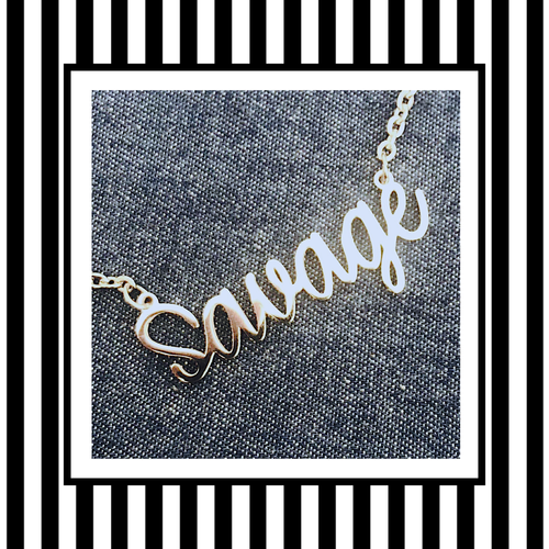 Savage Silver Script Necklace