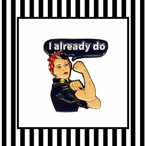 Rosie the Riveter Enamel Pin BAdge framed