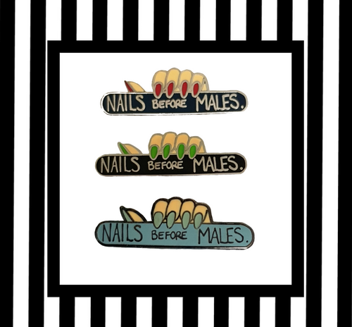 Nails before males enamel pin badges framed