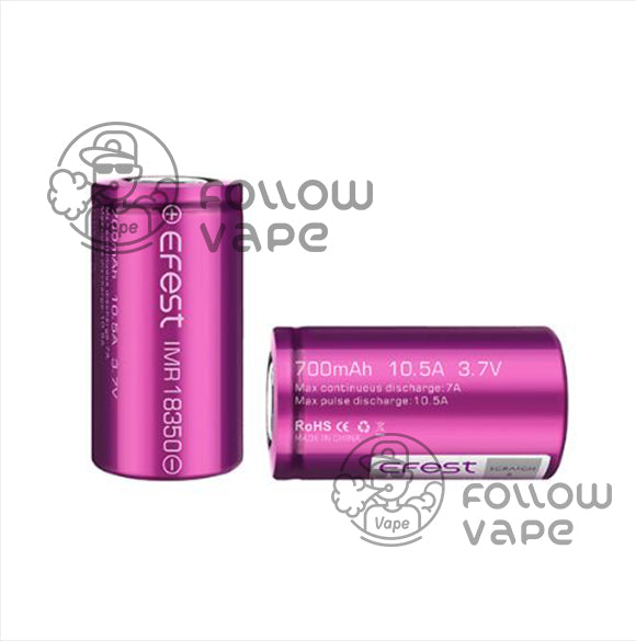 EFEST IMR 18350 700MAH 10.5A  RECHARGEABLE BATTERY FLAT TOP - Follow Vape