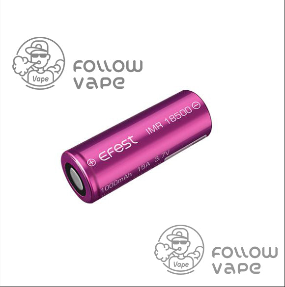 EFEST IMR 18500 1000MAH15A RECHARGEABLE BATTERY FLAT TOP - Follow Vape