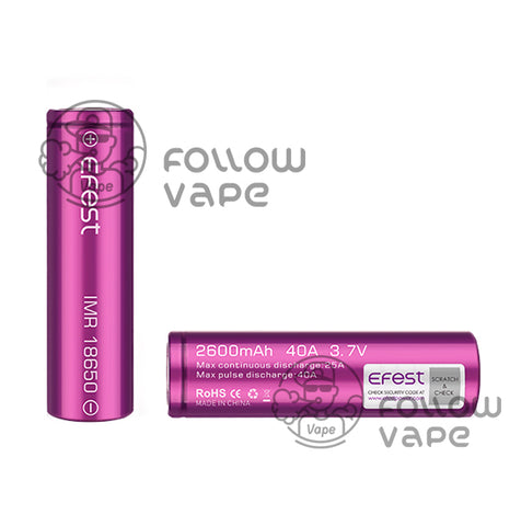 Efest IMR 26650 Battery 2600mAh 40A - Flat Top - Follow Vape