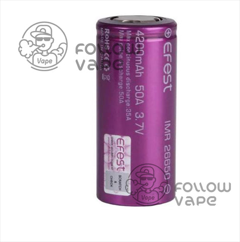 EFEST IMR 26650 4200MAH 50A RECHARGEABLE BATTERY  FLAT TOP - Follow Vape