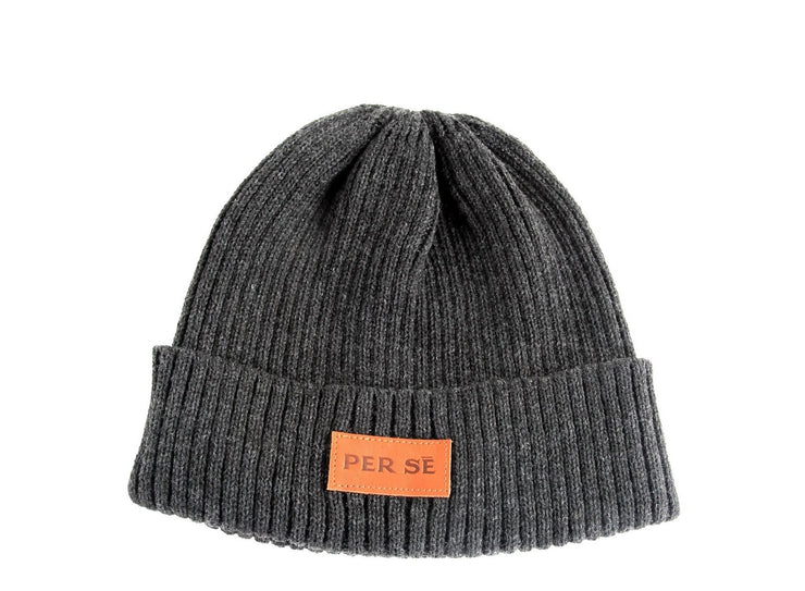 Leather Patch Beanie in Charcoal