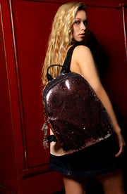 Bling Sequin Backpack in Pink - Vegan Leather