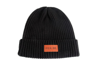 Leather Patch Beanie in Black