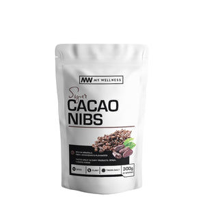 Super Cacao Nibs - add to foods, dessert or muesli as a tasty and healthy alternative to chocolate. 300g Superfoods. My Wellness SA - Superfood health products.