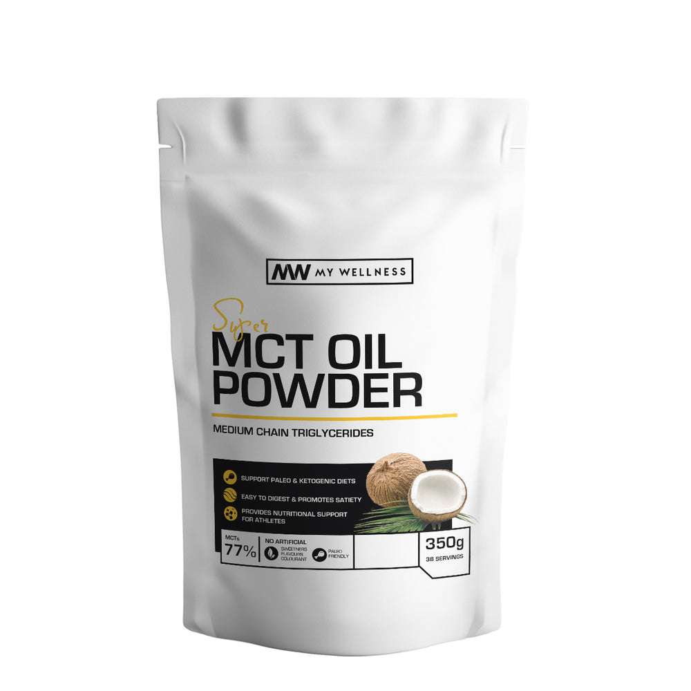 Super MCT Oil Powder - medium chain triglycerides naturally found in coconut oils. Use in smoothies to provide creaminess and add to coffee or tea as a creamer to achieve ketosis. My Wellness SA Keto Health Products.