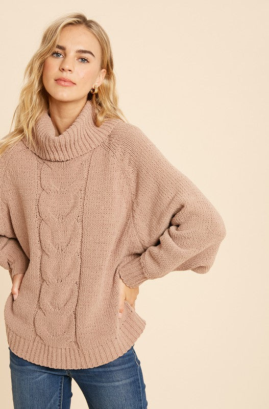 Gabriela Turtleneck Sweater - Rose Lovely