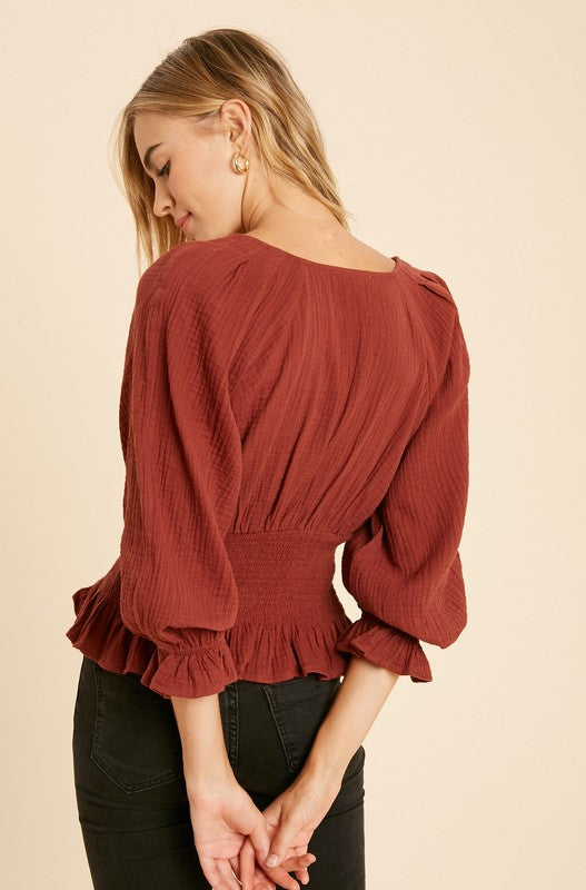 Sweet Memory Lane Top - Terracotta - Rose Lovely