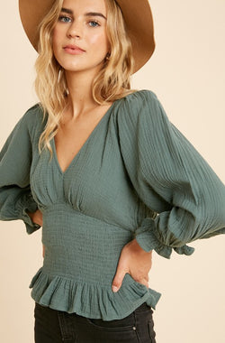 Sweet Memory Lane Top - Sage - Rose Lovely