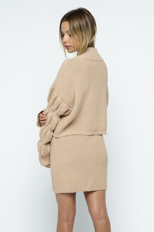 Kayla Sweater + Skirt Set - Beige - Rose Lovely