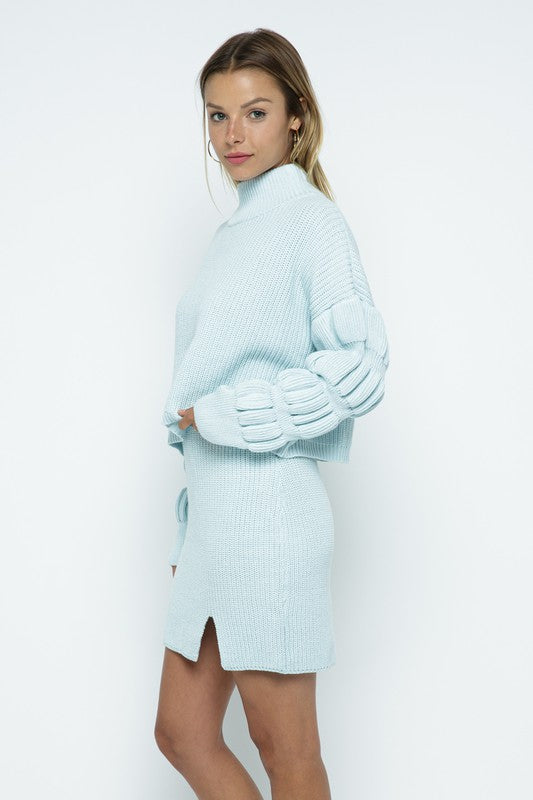 Kayla Sweater + Skirt Set - Blue - Rose Lovely
