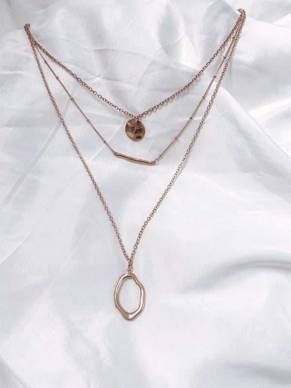 Jordyn Layered Necklace Worn Gold - Rose Lovely