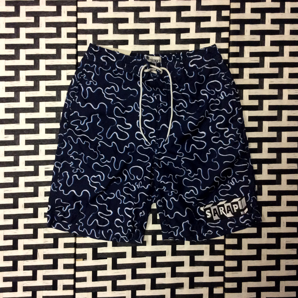 Navy Blue All Over Print Swimming Trunks