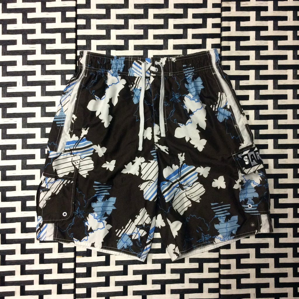 Brown w/ Floral Print Swimming Trunks