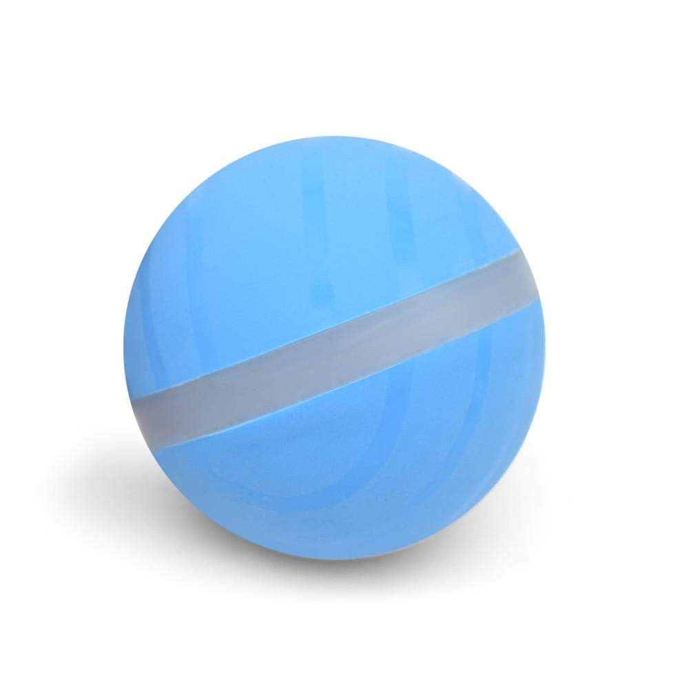 image of a blue ball pet toy with gray stripe