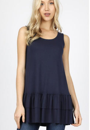 (1 Small 2 Med)  Navy Sleeveless Ruffle Bottom Top