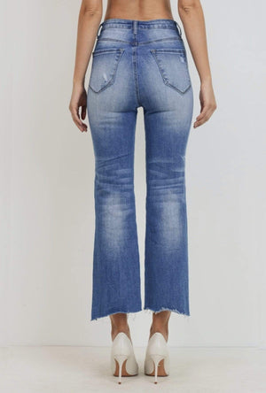 High Rise Raw Cut Denim Jeans - Hello, Sunshine Market