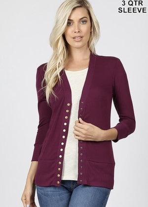 Plum Snap Cardigan