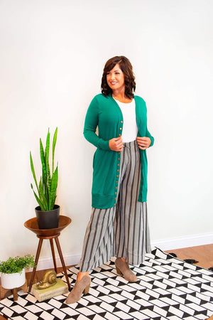 Forest Green Snap Button Cardigan