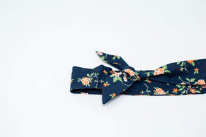 Knot Tie Headband  |  Navy & Orange Vintage Floral