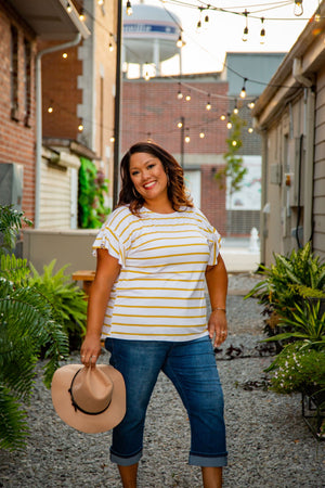 Yellow Striped Ruffle Sleeve Top - Hello, Sunshine Market
