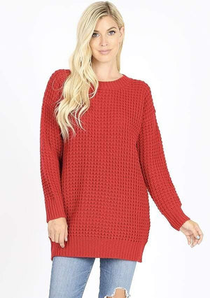 Red Waffle Knit Sweater