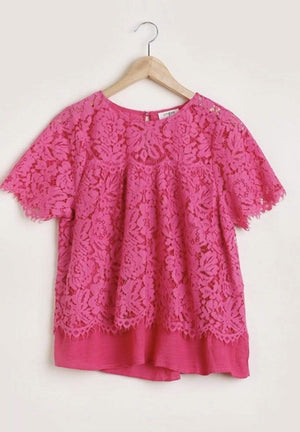 Fuchsia Floral Lace Top