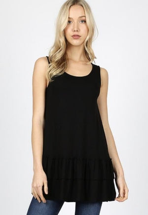 Black Sleeveless Ruffle Bottom Top