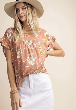 Rose Ruffle Drop Shoulder Top