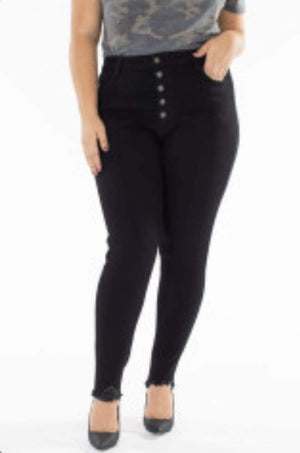 Plus Black High Rise Button Fly Skinny Jeans